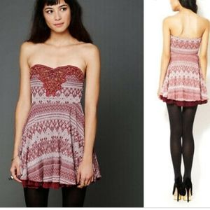 FREE PEOPLE TWINKLE AND TWIRL MINI SKATER DRESS XS
